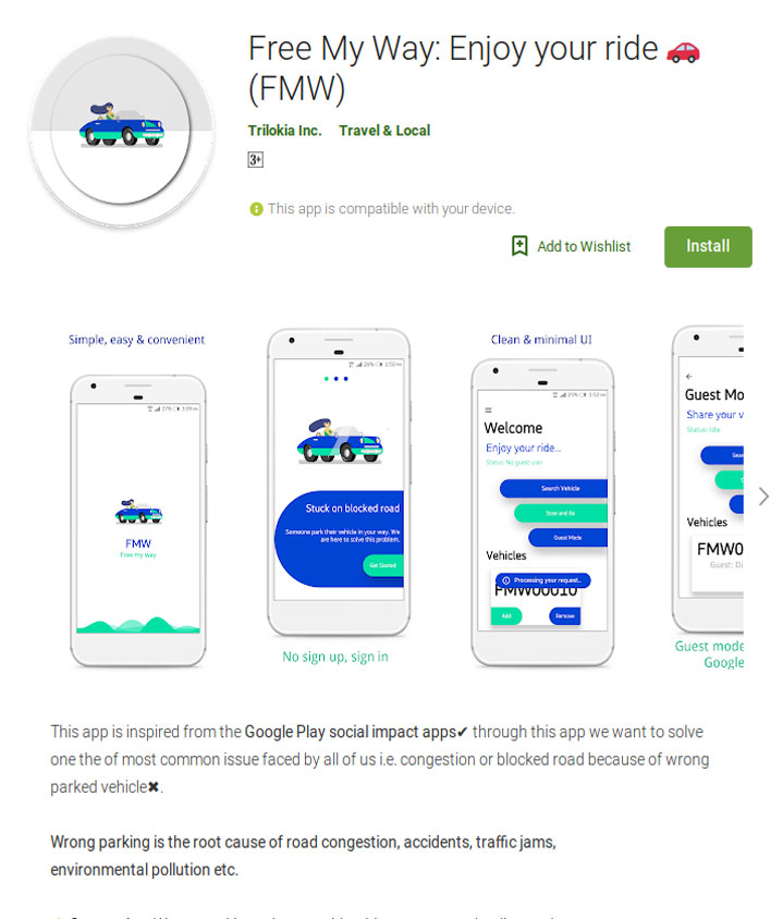 Free My Way Android Application
